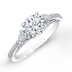 Platinum Three Stone Diamond Engagement Ring with Pear Shaped Side Stones