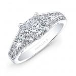 18k White Gold Split Shank Diamond Engagement Ring for a Princess Cut Center