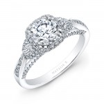 18k White Gold Diamond Halo Engagement Ring with Tapered Shank