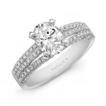 18K White Gold White Diamond Triple Split Shank Engagement Ring