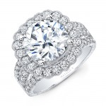 Natalie k cushion flower halo Vintage engagement ring