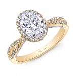 Natalie k yellow gold criss cross shank oval halo engagement ring
