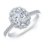 18K WHITE GOLD NATALIE K OVAL FLOWER HALO VINTAGE ENGAGEMENT RING