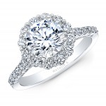 18K WHITE GOLD NATALIE K ROUND FLOWER HALO VINTAGE ENGAGEMENT RING