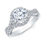 18K WHITE GOLD NATALIE K ROUND HALO VINTAGE ENGAGEMENT RING