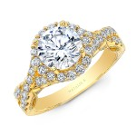 18K YELLOW GOLD NATALIE K ROUND HALO VINTAGE ENGAGEMENT RING