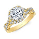 18K  YELLOW GOLD NATALIE K CUSHION HALO VINTAGE ENGAGEMENT RING