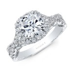 18K  WHITE GOLD NATALIE K CUSHION HALO VINTAGE ENGAGEMENT RING