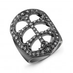 Double Cross Black Diamond Ring