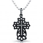 Black Rhodium Silver Antique Diamond Cross Necklace