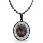 Black Sterling Silver Diamond Smokey Quartz Pendant