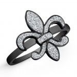 Silver Diamond Fleur De Lys Ring- Black Rhodium