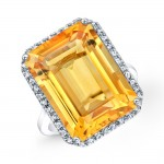 15 Carat Emerald Cut Citrine Ring