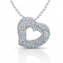 14kt White Gold Diamond Pave Floating Heart 1/4ct Total Weight