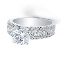14k White Gold Pave & Prong Ring