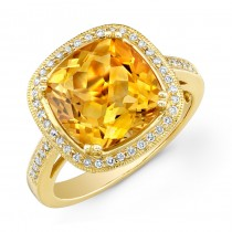 Yellow Gold 3.70ct Cushion Citrine Diamond Ring