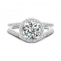 Split Shank Diamond Halo Engagement Ring