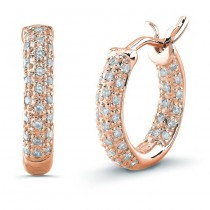 14K Rose Diamond Pave Hoops 1/2""