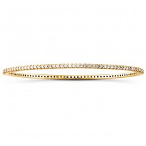 14k Yellow Gold Prong Set Diamond Bangle