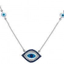 14kt White Gold Blue Diamond Evil Eye Necklace