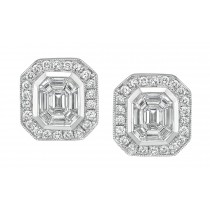 Emerald Cut Diamonds Mosaic Pave Earrings