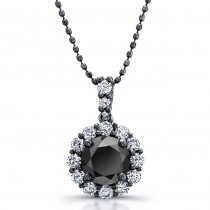 14k Black Gold Black Diamond Halo Pendant