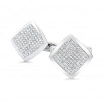 14k White Gold Mens Pave Diamond Square Cuff Links