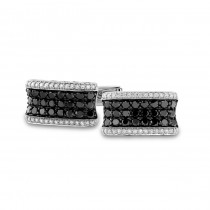 14k White Gold Black and White Pave Diamond Mens Cuff Links