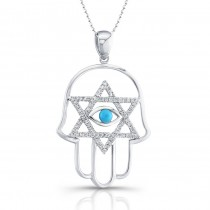 14k White Gold Diamond Hamsa with Evil Eye and Star of David