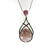Sterling silver oval rose saphire and black diamond pendant