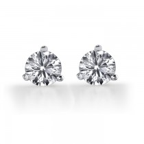 14k White Gold Diamond Martini Stud Earrings 1 1/4 ct Total Weight