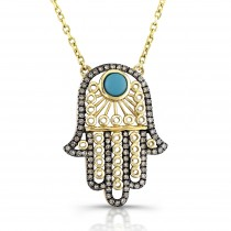 Hamsa- Brown Diamonds-Turquoise-14K Yellow
