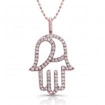 Rose Gold Diamond Hamsa Necklace