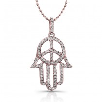 Rose Gold Hamsa-Peace Sign Necklace
