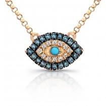 White-Blue Diamond Evil Eye Pendant,14K Rose Gold