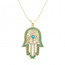 Yellow Gold Diamond-Turquoise Hamsa Pendant