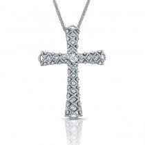 3.13 Carats Diamond Woven Cross Necklace