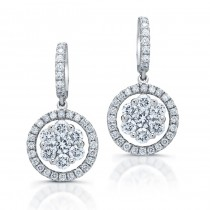 14kt White Gold Diamond Cluster Earrings 1.00ct