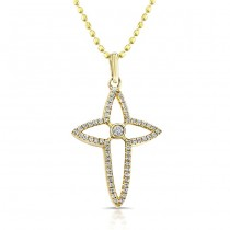 14k Yellow Diamond Cross Bezel Set Center