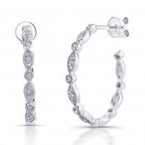 14k White Gold Vintage  Diamond Pave Hoop Earrings