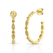 14k Yellow Gold Vintage  Diamond Pave Hoop Earrings