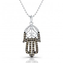 Hamsa Diamond Filigree Necklace With Brown Diamonds 14K White