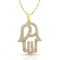 Diamond Hamsa Pendant- 14K Yellow Gold 1/5 Ct