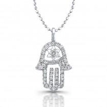 Diamond Hamsa-Star Of David Necklace 14K White