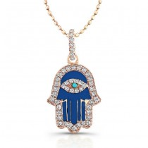 Diamond-Dark Blue Enamel Hamsa-14K Rose Gold