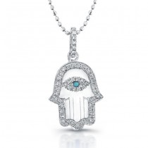Diamond Hamsa-White Enamel-14K White Gold