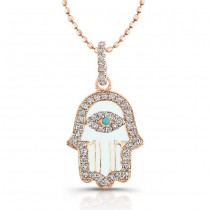 Diamond Hamsa-White Enamel-14K Rose Gold