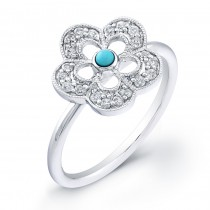 14kt White Gold Diamond Flower Ring-Turquoise Center