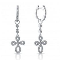 14k White Gold Diamond Hoop Earrings- Cross Charms