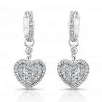 14k White Gold Heart  Diamond Pave Earrings